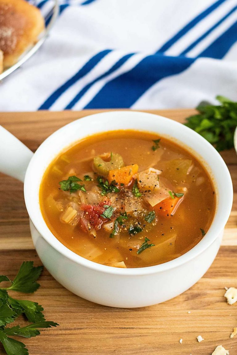 vegetarian cabbage soup in a white ramekin