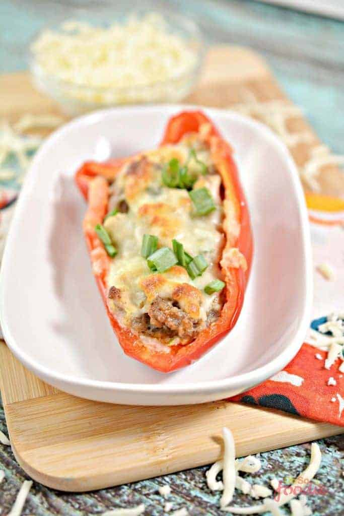 Keto Stuffed Peppers With Ground Sausage And Cheese