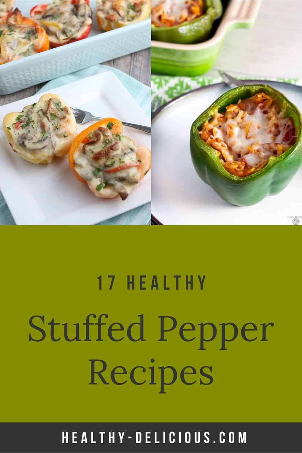 17 healthy stuffed peppers recipes, from classic Italian stuffed peppers to enchilada stuffed peppers to low carb stuffed pepper soup made with cauliflower rice via @HealthyDelish
