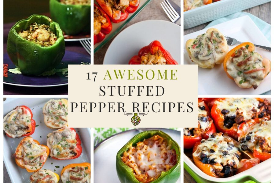 collage of 6 healthy stuffed peppers recipes