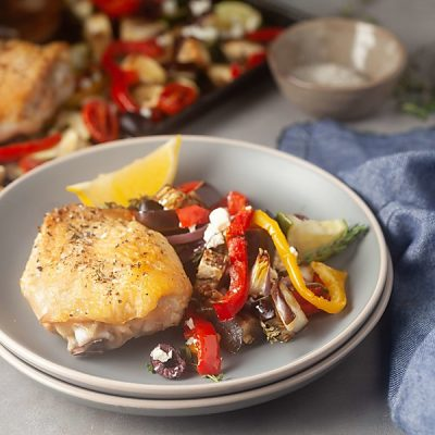 Sheet Pan Mediterranean Chicken Thighs (Low Carb, Whole 30, Gluten-Free)