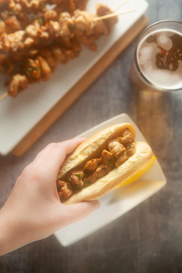 chicken spiedie sandwich
