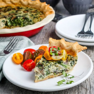 Mushroom and Spinach Quiche (Vegetarian)