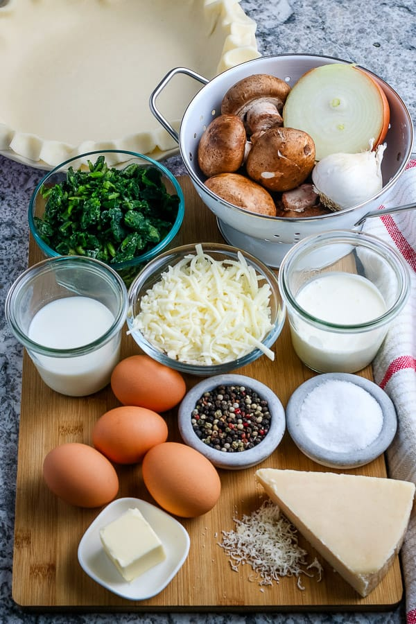 ingredients to make mushroom and spinach quiche