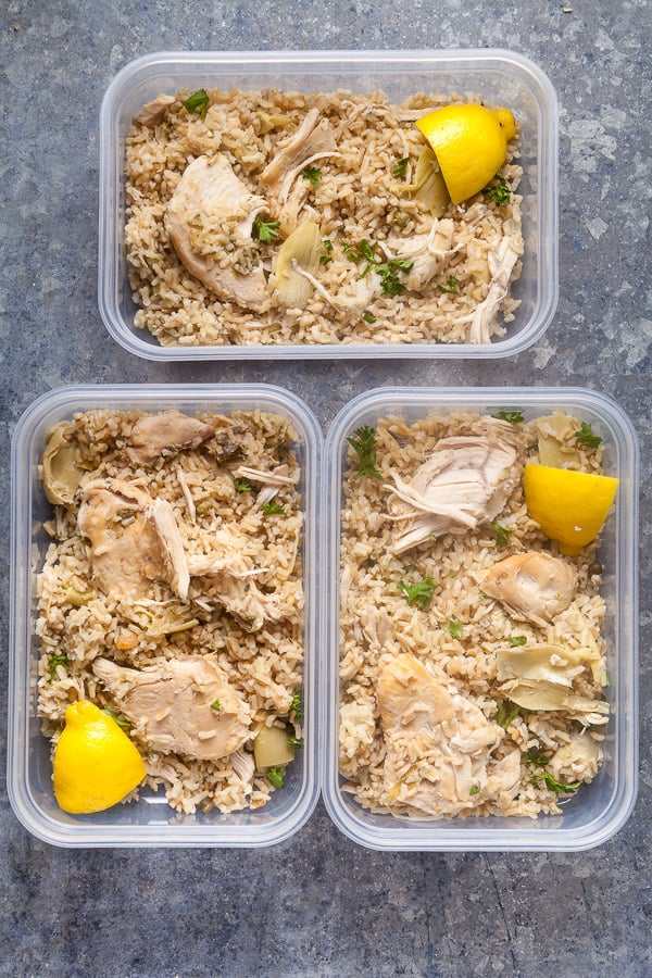 slow cooker lemon chicken in meal prep containers