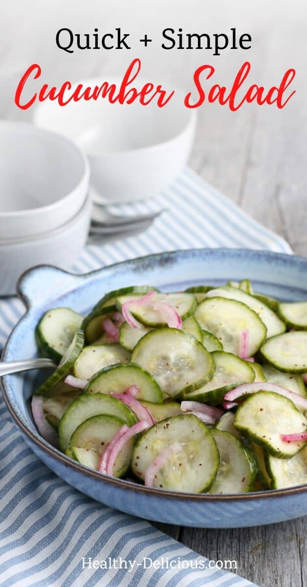 Quick and easy cucumber salad makes itself right at home next to just about any summer recipe. A sweet and tangy vinaigrette makes it so refreshing! via @HealthyDelish