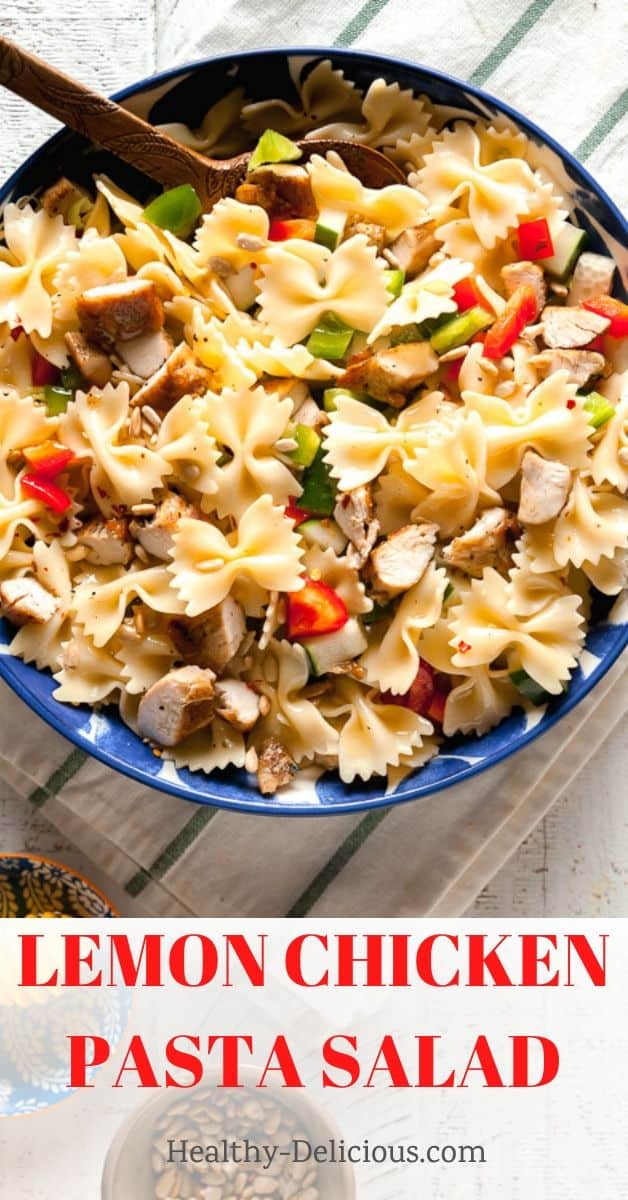 Easy lemon pasta salad is a great side dish - or top it with grilled chicken or shrimp for a full meal. I love this sweet and tangy lemon-honey vinaigrette on this healthy pasta salad.  via @HealthyDelish