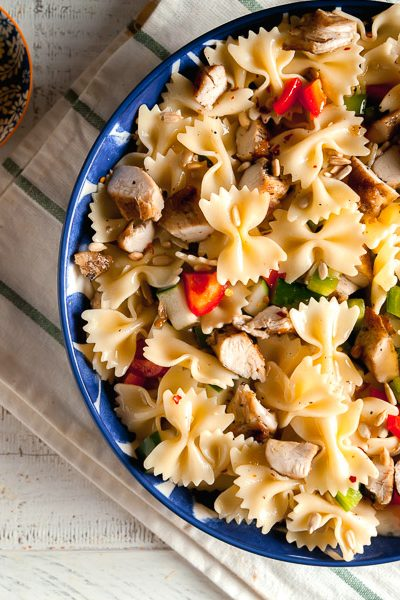 overhead view of lemon pasta salad made with bowtie pasta