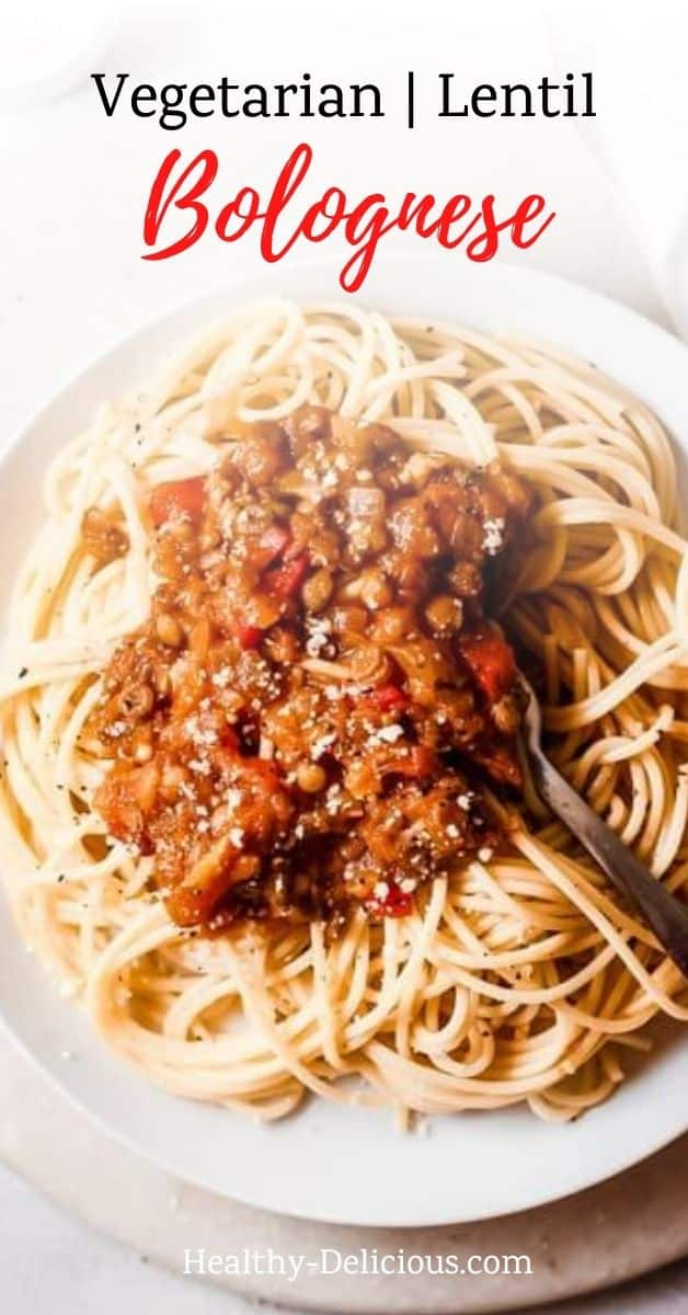 This easy mushroom and lentil bolognese recipe is a vegetarian sauce with tons of flavor that you can eat of your favorite pasta, like spaghetti. Or go healthy and serve it over zucchini noodles or spaghetti squash! Includes stovetop, crockpot, and instant pot options.  instant pot.  via @HealthyDelish