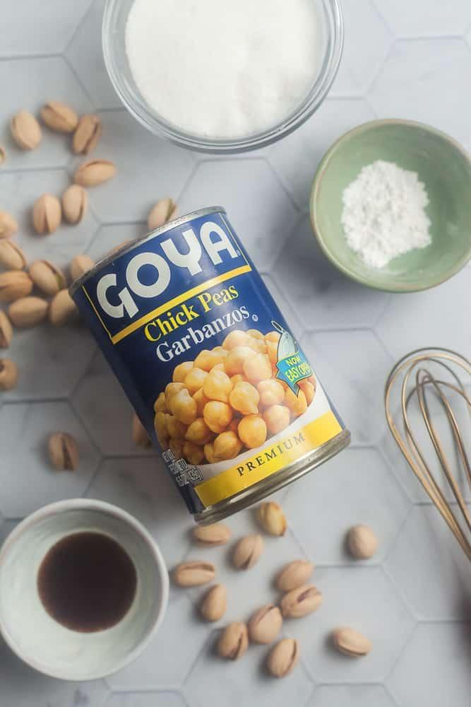 ingredients for making vegan meringues with aquafaba