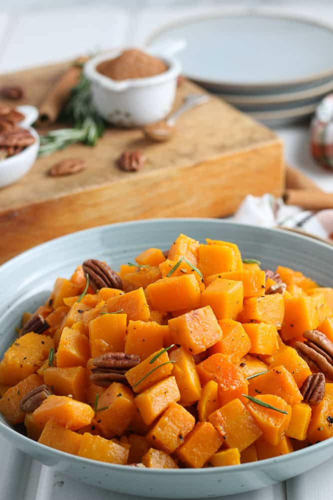 closeup view of roasted squash in a bowl