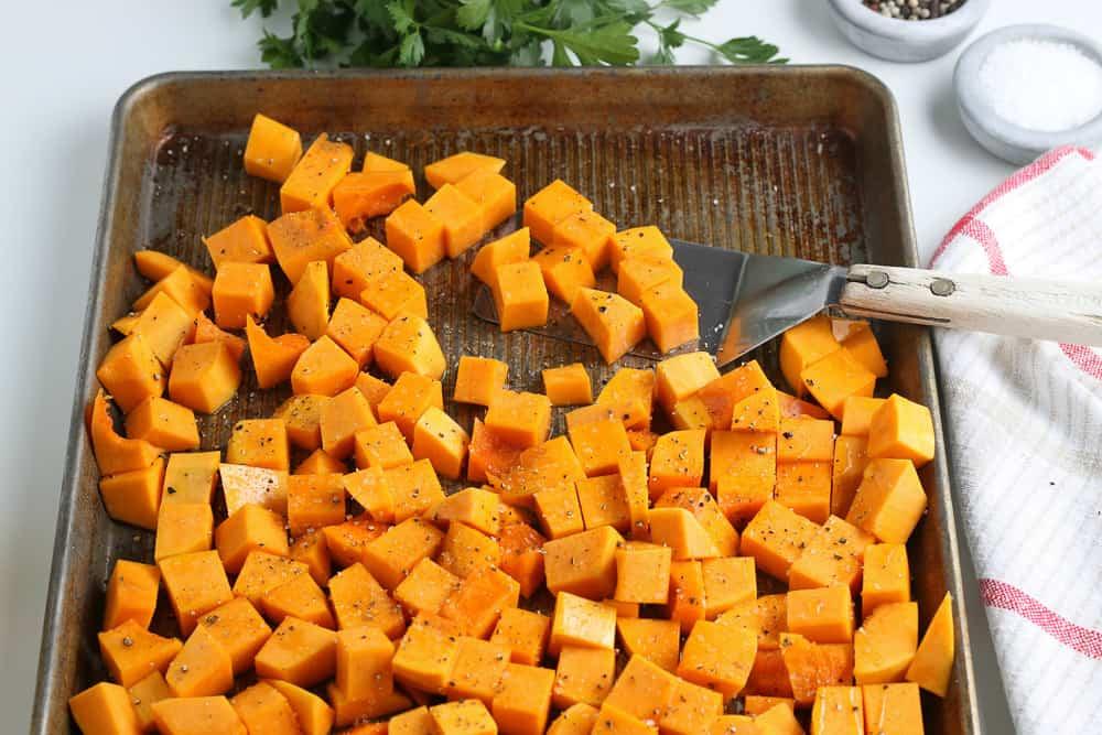 pan of diced butternut squash
