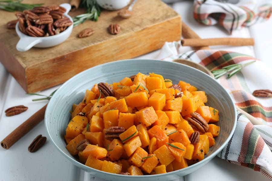 landscape image of roasted squash in a dish
