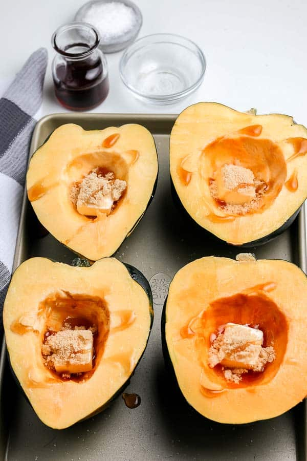 drizzle acorn squash with maple syrup for a sweet treat