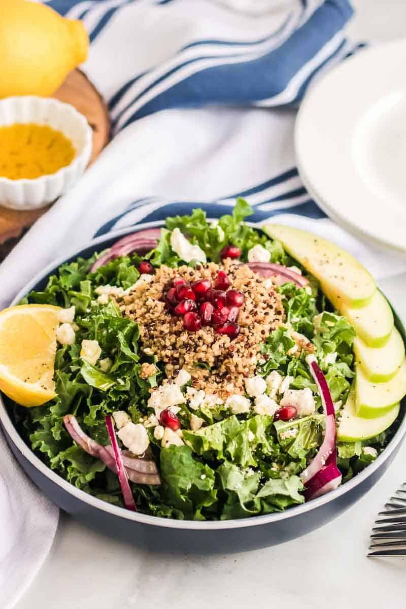 Harvest Kale Salad with Pomegranate + Apples 3
