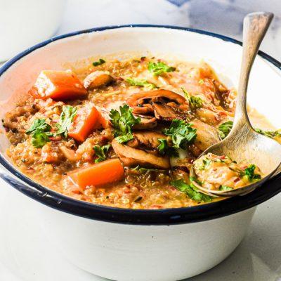 Creamy Mushroom + Quinoa Soup