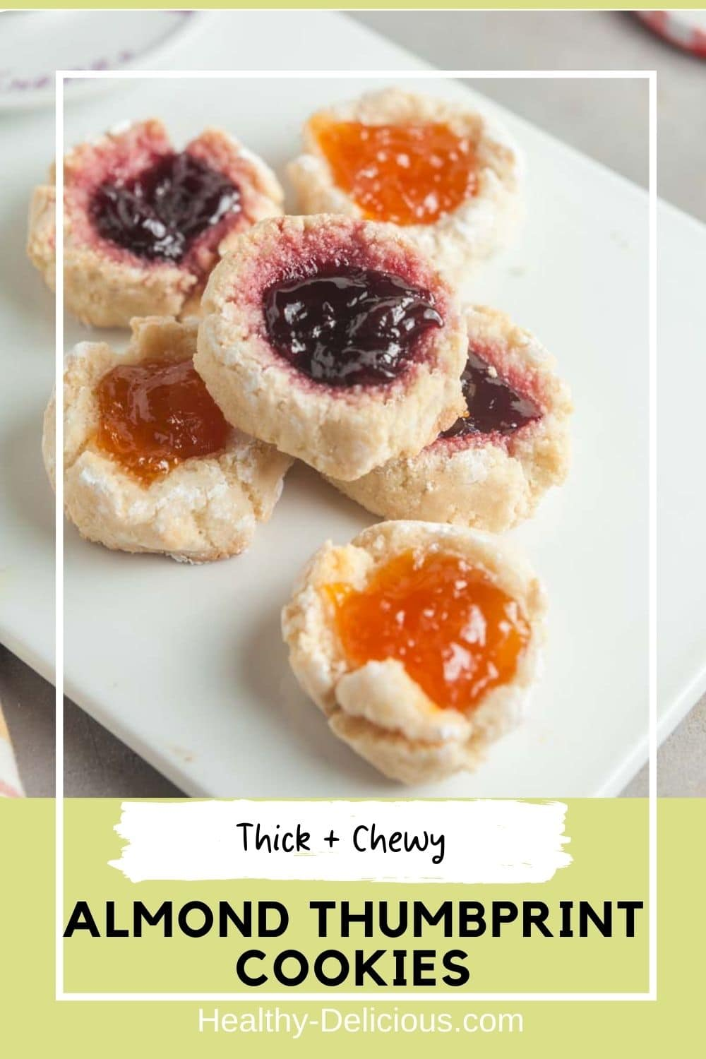 Almond thumbprint cookies a such a treat! These delightfully chewy cookies are naturally gluten-free and dairy-free and the small-batch recipe makes just 6 cookies -- perfect for a mid-afternoon snack. via @HealthyDelish