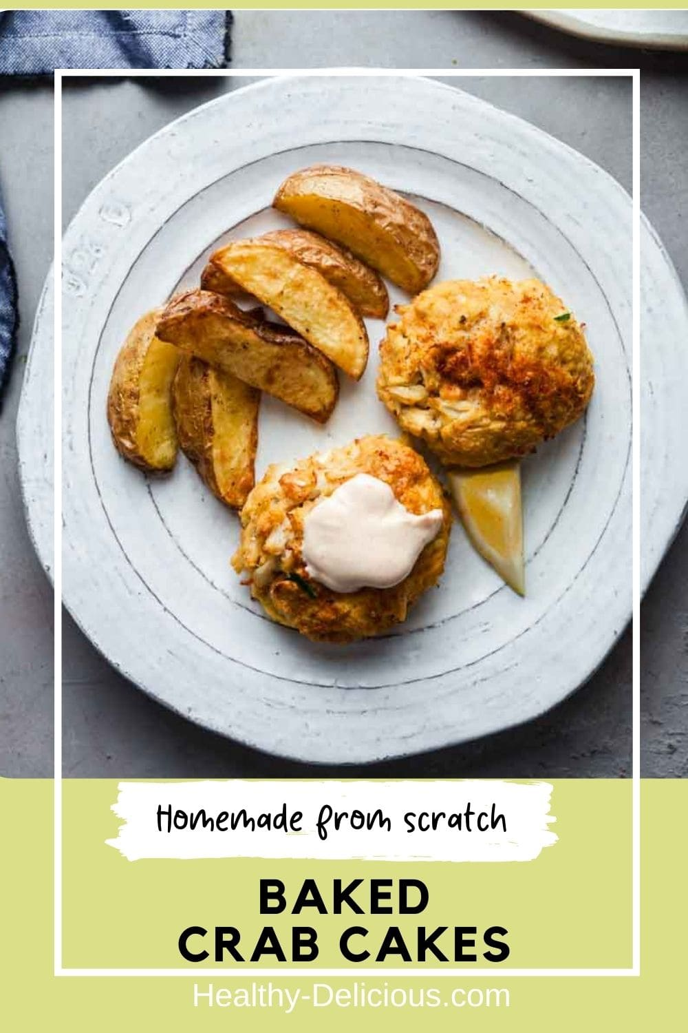 This simple crab cake recipe is baked in the oven instead of fried, so they come out perfect every time with less oil. This simple recipe uses minimal filler for the best texture and flavor, and uses no mayo! via @HealthyDelish
