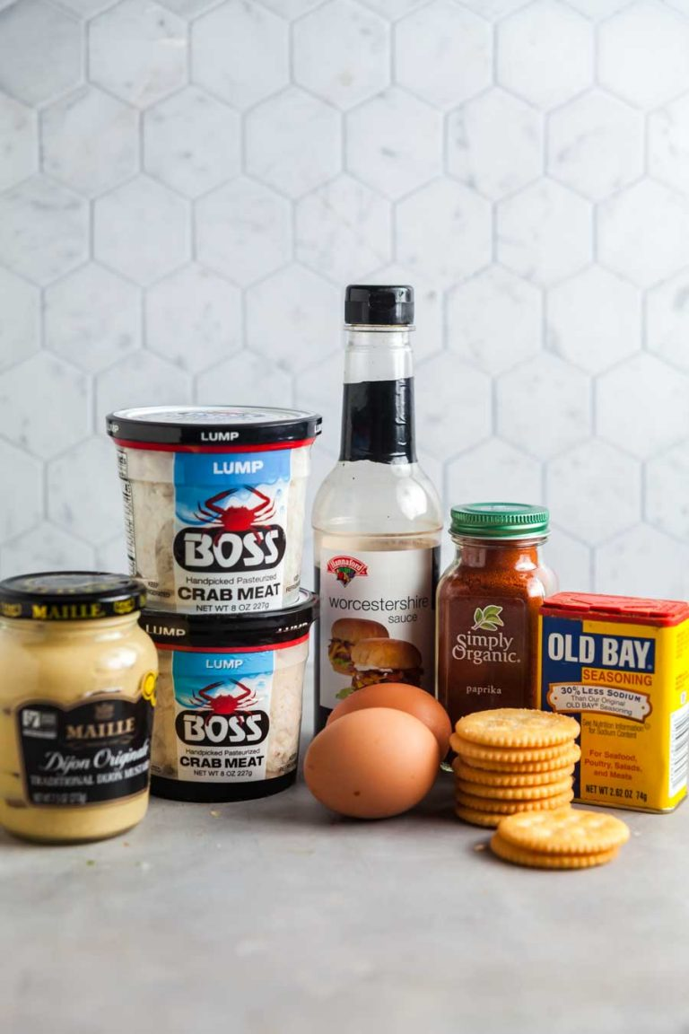 Ingredients for making the best crab cakes: lump crab meat, eggs, Worchestershire sauce, Dijon mustard, and species.