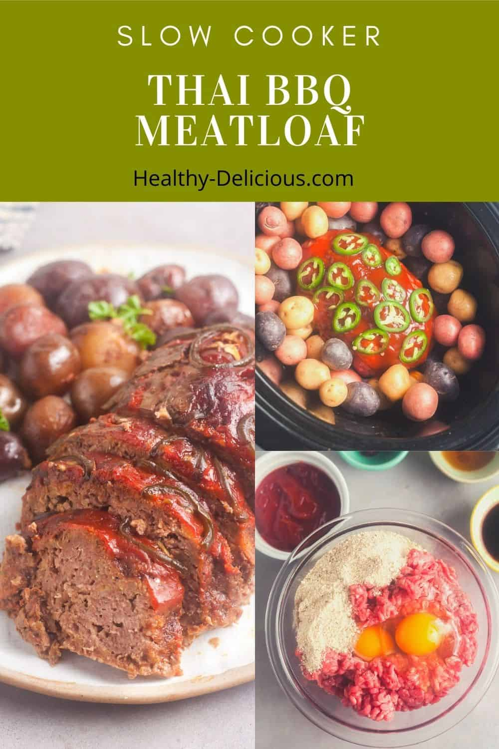 This slow cooker meatloaf and potatoes recipe is glazed with a delicious Thai-inspired barbecue sauce that's perfectly tangy and just a little bit spicy. Just one bite will leave you craving more. The leftovers are even better the next day, so this recipe is perfect for meal prep! via @HealthyDelish