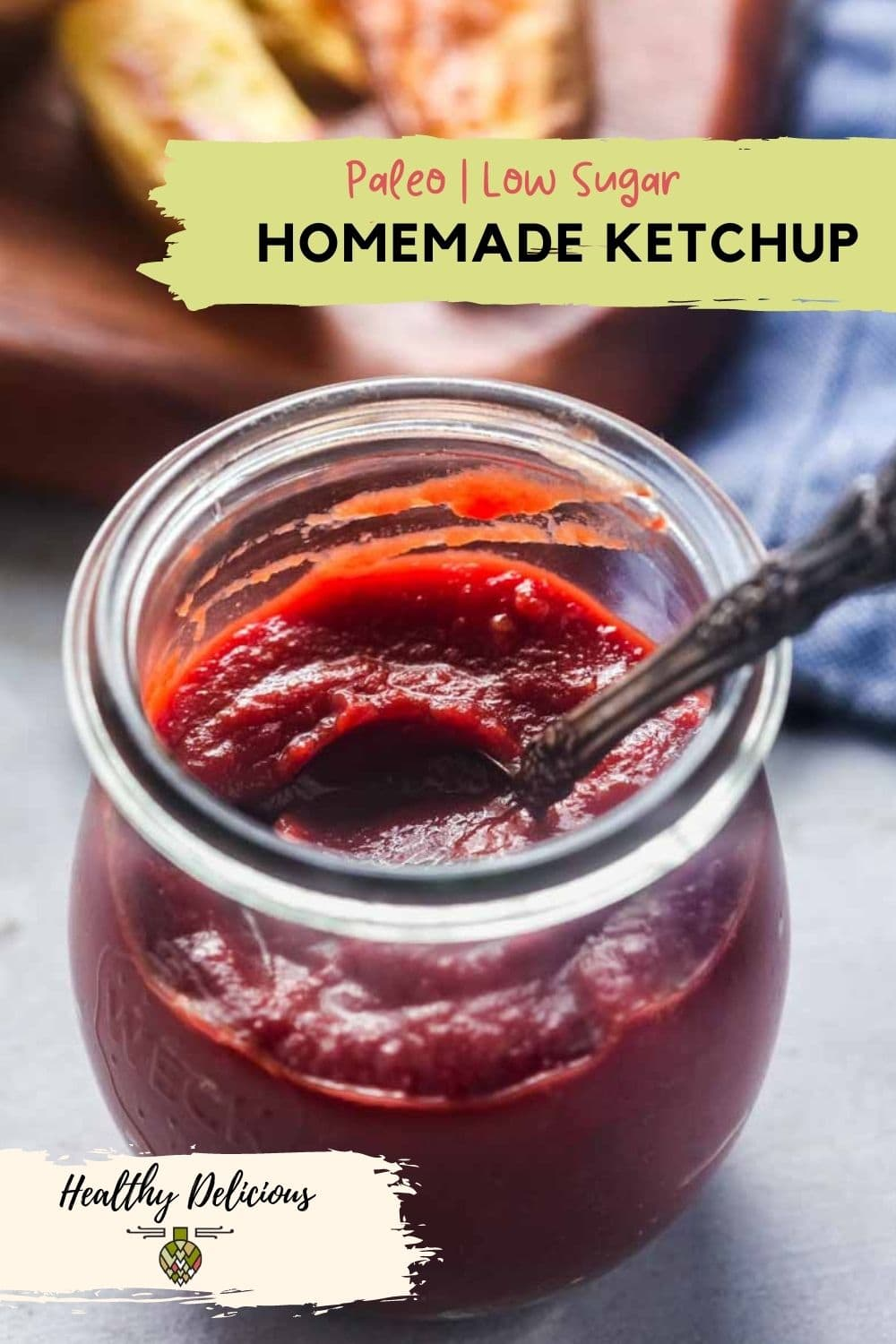 Easy homemade ketchup without any corn syrup! This paleo ketchup recipe is sweetened with honey and balsamic vinegar for the classic flavor you know and love without all of the sugar. via @HealthyDelish