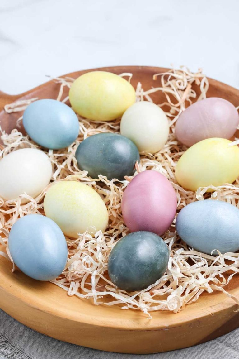 A close up of naturally Easter eggs colored with natural dye.