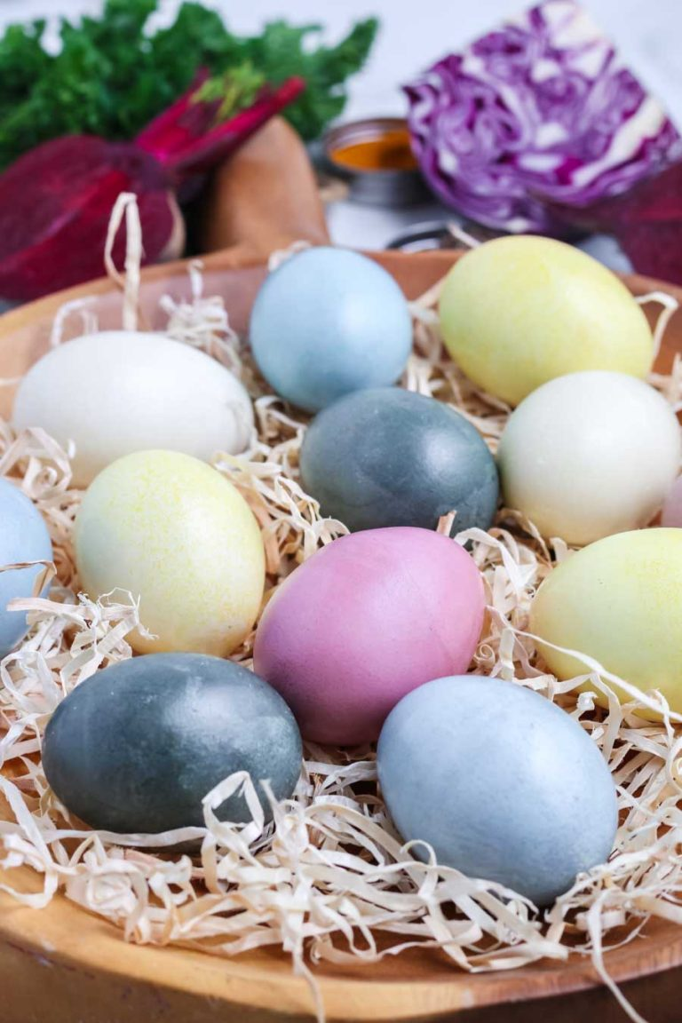 A platter of Easter eggs dyed using natural dyes made from common household items.