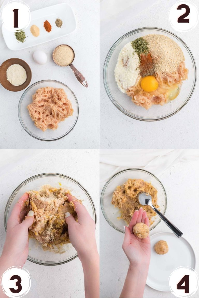 Step by step collage of how to make chicken meatballs.