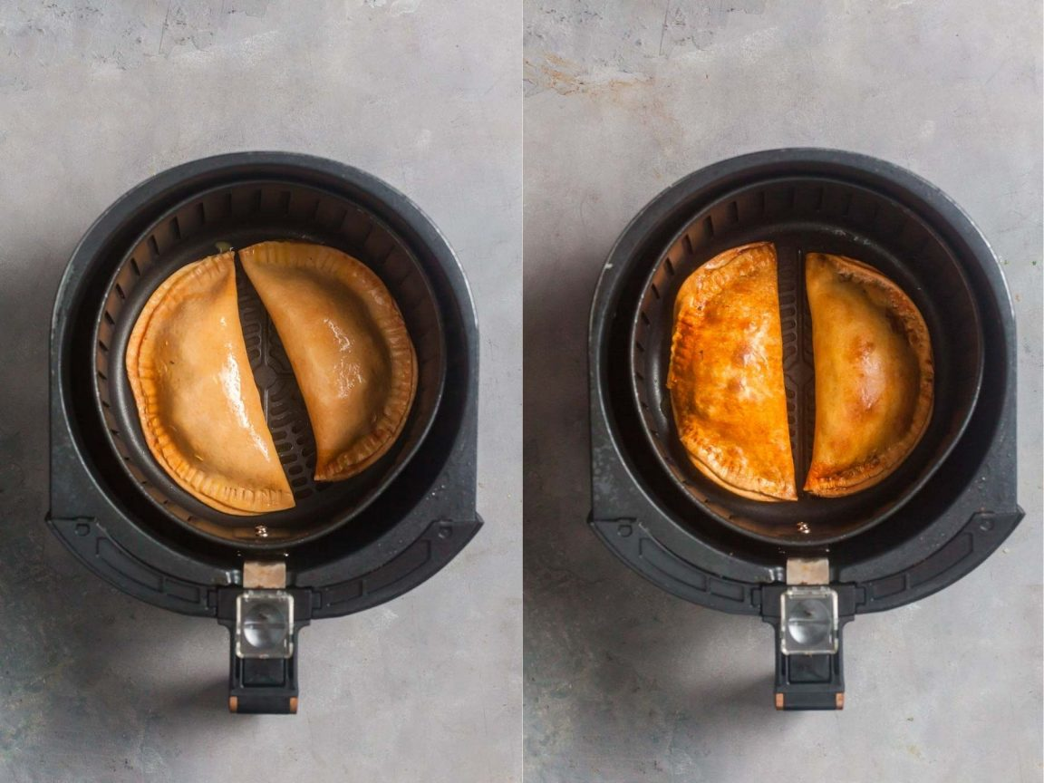 And air fryer basket with empanadas inside. Side by side images show the uncooked empanadas compared to cook empanadas.
