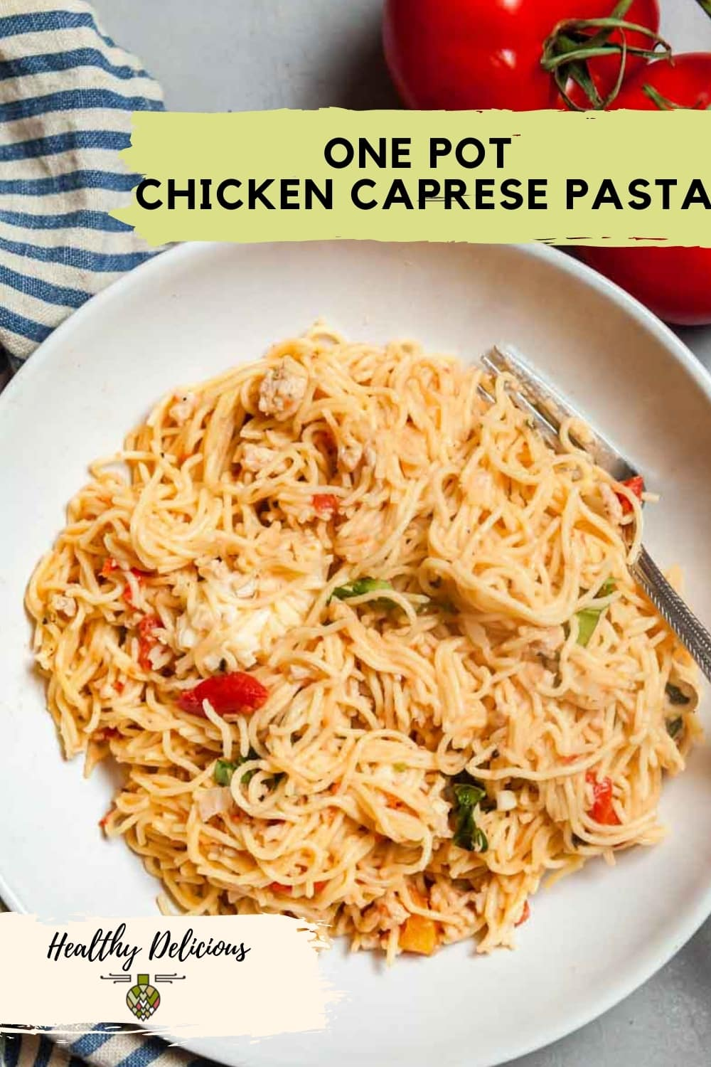 Fuss-free one pot pasta is a meal the whole family will love! This 20-minute recipe is inspired by caprese salad, with fire-roasted tomatoes, mozzarella, and plenty of fresh basil. You'll look forward to eating it all summer long! via @HealthyDelish