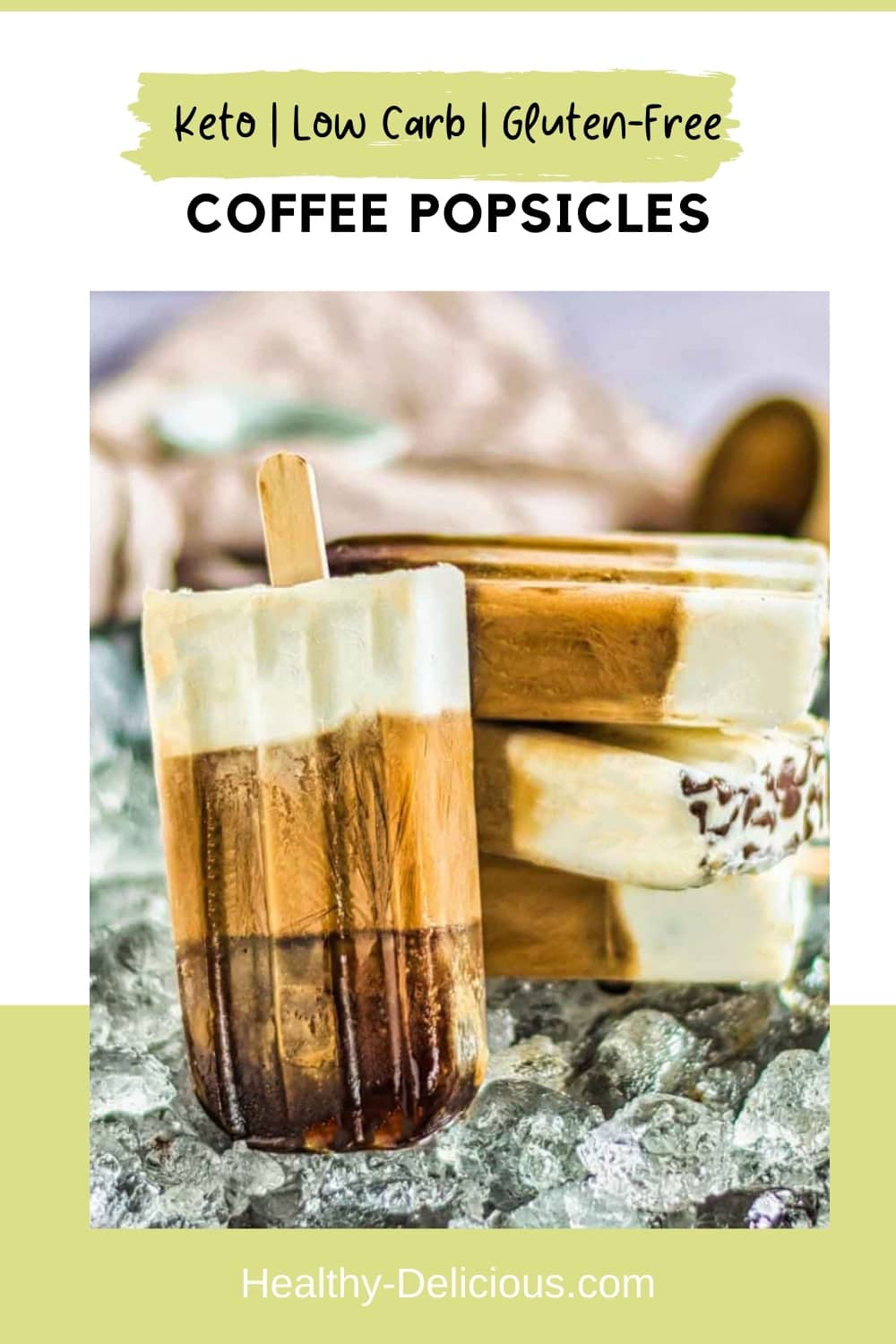 Triple-layer keto coffee popsicles are a cool and creamy summer treat that are perfect for a hot day! You'll love this quick, sugar-free pick-me-up. via @HealthyDelish