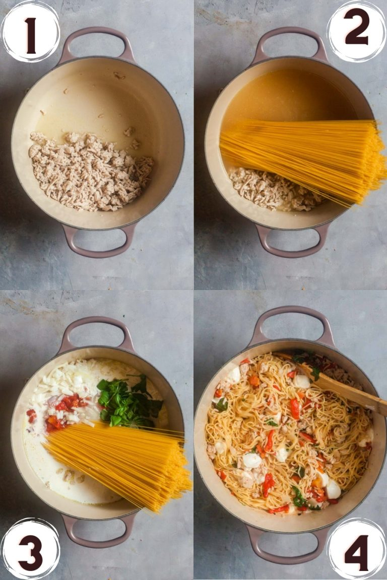 A collage of process photos showing how to make one pot pasta.