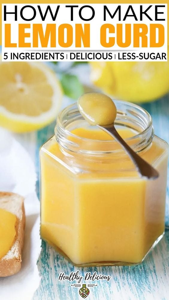 Silky smooth lemon curd is easy to make with just 5 ingredients! This recipe has less sugar than traditional lemon curd, but it still has that great sweet and tangy flavor you know and love. And since I was making it myself, I was able to reduce use less sugar than store-bought versions. This is definitely still a once-in-a-while treat, but I do feel better knowing this lemon curd recipe made from simple ingredients.   @HealthyDelish #healthylemoncurdrecipe #easylemoncurd #lemoncurddessert via @HealthyDelish