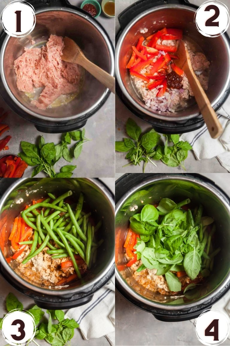 Step by step photo collage showing how to make basil chicken in the Instant Pot.