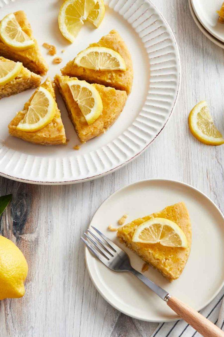 Overhead view of Instant Pot lemon bars on a platter.
