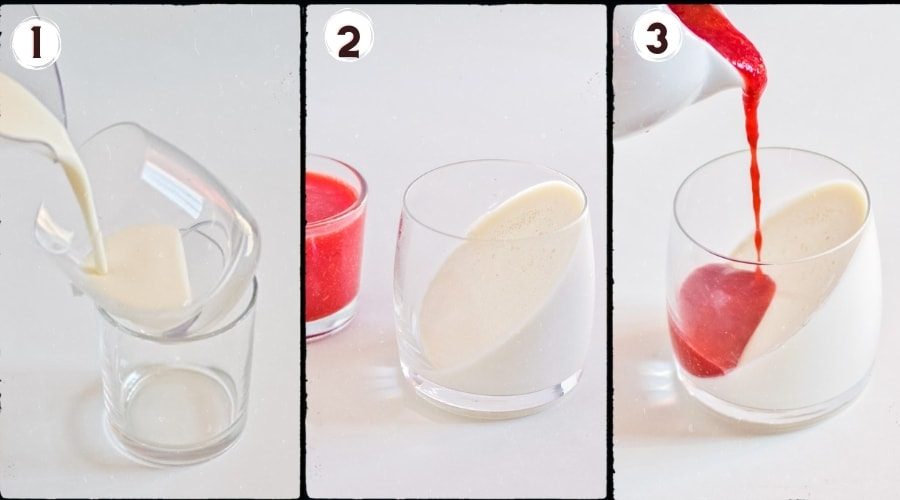 step by step photos of how to make layered panna cotta at an angle