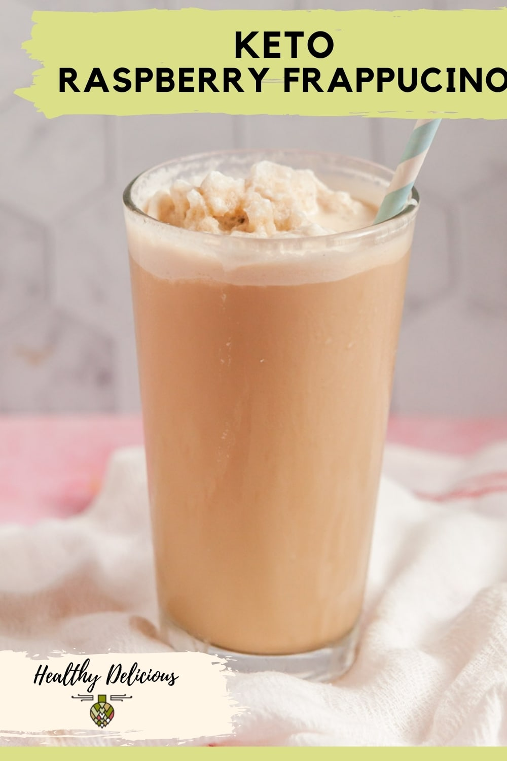 Frozen coffee is so easy to make at home and this keto version only has 2 net carbs! You'll love this raspberry frappucino copycat recipe when you need a cold treat this summer! via @HealthyDelish