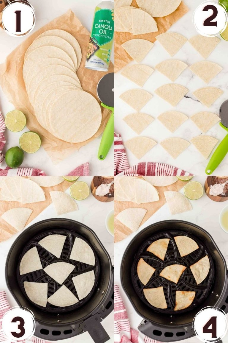 Step by step image collage showing the steps to make homemade tortilla chips in an air fryer.
