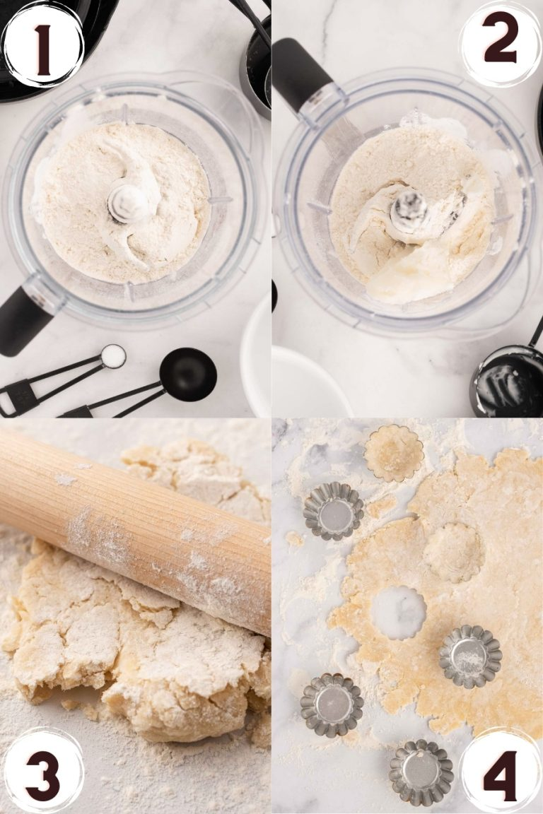 Step by Step photo collage showing how to make tart dough in a food processor.